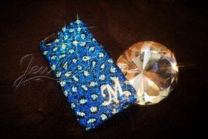 青色レオパード柄iPhome6ケースデコ